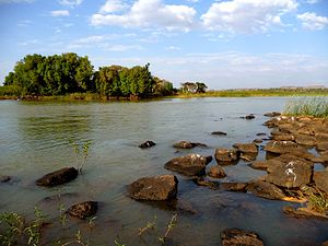 Lake Tana - Beginning of the Blue Nile river by its outlet from Lake Tana.