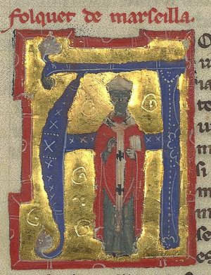 "Folquet de Marselha - ""Folquet de Marseilla"" in a 13th-century chansonnier, depicted in his episcopal robes."