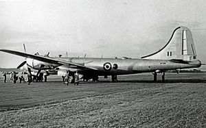 "Landing gear - Postwar RAF Washington B.I (B-29) with tail ""bumper"" deployed"