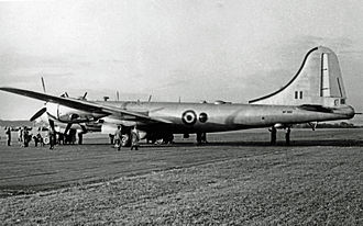 "Royal Air Force Boeing Washington B.I with tail ""bumper"" deployed Boeing B-29A Washington B.1 WF502 90 Sqn Hooton 20.09.52 edited-2.jpg"