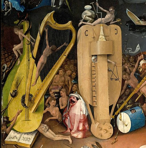 Bosch, Hieronymus - The Garden of Earthly Delights, right panel - Detail musical instruments (left)