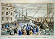 "The lithograph ""The Destruction of Tea at Boston Harbor"""