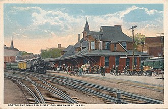 John W. Olver Transit Center - The Boston and Maine Railroad station in Greenfield around 1916