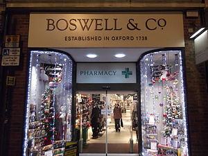 Boswells of Oxford - The entrance to the Boswells store at night on Cornmarket Street.