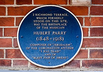 Hubert Parry - A blue Plaque marking Parry's birthplace at 2, Richmond Terrace, Bournemouth