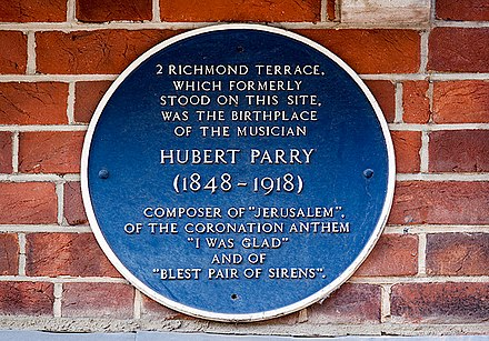 A blue Plaque marking the birthplace of Hubert Parry at 2, Richmond Terrace, Bournemouth Bournemouth Blue Plaques- No. 25 - Hubert Parry (geograph 4429939).jpg