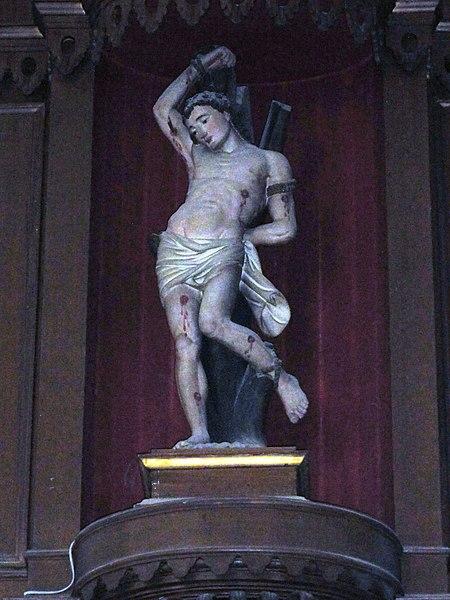 Bousies (Nord, Fr) église Saint-Rémi, statue de saint Sébastien.