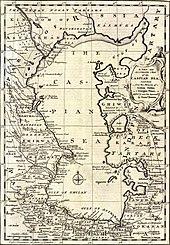 Um mapa do mar Cáspio em meados dos anos 1700