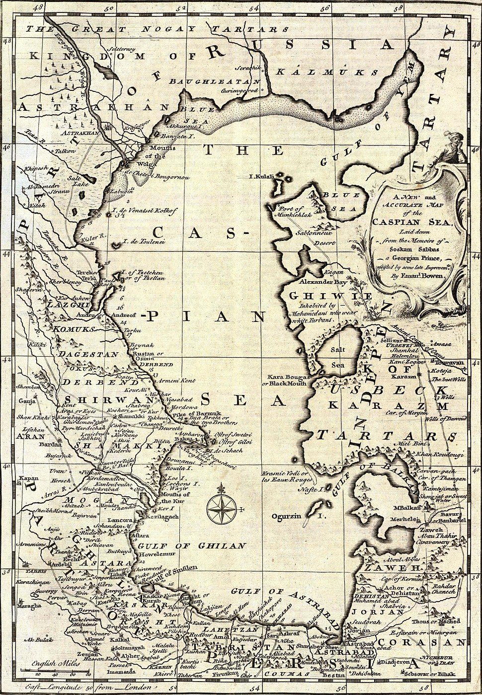 Bowen, Emanuel; Orbeliani, Sulxan-Saba. A new and accurate map of the Caspian Sea. 1747. (A)