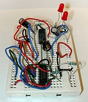 breadboard wikipedia, the free encyclopediaa solderless breadboard with a completed circuit