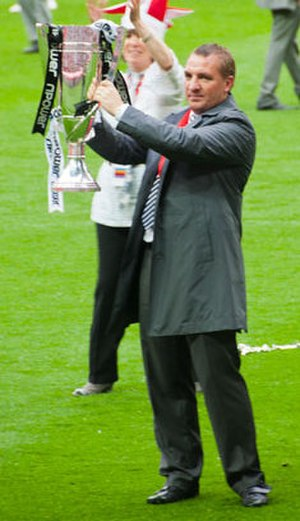 Brendan Rodgers - Rodgers celebrating winning the 2011 Championship play-off final with Swansea City