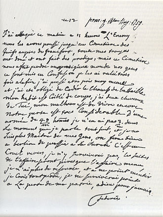 Battle of Kunersdorf - Frederick's letter in French to his old tutor.