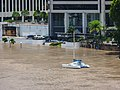 Brisbane River Town Reach Riverwalk in flood from Story Bridge Fortitude Valley P1090902.jpg