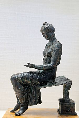 Women in ancient Rome - Bronze statuette of the 1st century depicting a girl reading