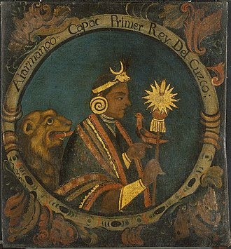 Inca Empire - Manco Cápac, First Inca, 1 of 14 Portraits of Inca Kings, Probably mid-18th century. Oil on canvas. Brooklyn Museum