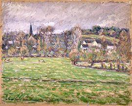 A view of Bazincourt by Camille Pissarro
