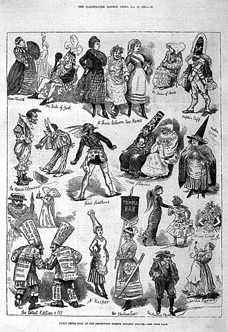 Brookwood Hospital - Depiction of a fancy dress ball at Brookwood Asylum shown in The Illustrated London News, 1881.