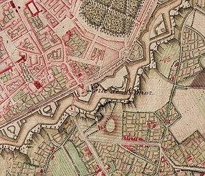 Namur Gate - The Porte de Namur on an 18th-century map