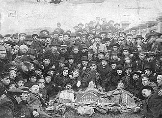 General Jewish Labour Bund - Members of the Bund with the bodies of their comrades, murdered during the Odessa pogrom in 1905