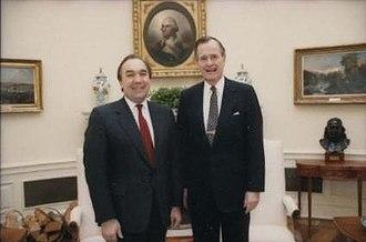 John Engler - Engler with President George H. W. Bush in 1991