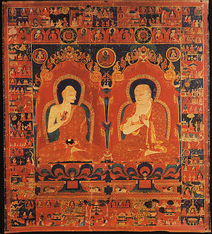 Shalu Monastery - A 14th-century depiction of the 11th abbot of Shalu Buton Rinchen (left) and his successor, a wall painting inside the monastery