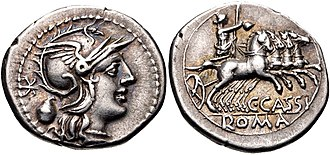 Cassia (gens) - Denarius of Gaius Cassius Longinus, 126 BC.  Roma is depicted on the obverse, with a voting urn behind.  The reverse shows Libertas holding a pileus and driving a chariot.  Both the urn and Libertas refer to the Lex Tabellaria passed by his uncle Longinus Ravilla as tribune of the plebs in 137.