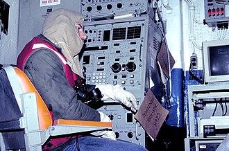 Phalanx CIWS - A sailor sits at a CIWS Local Control Panel (LCP) during a general quarters drill.