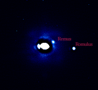 87 Sylvia - Adaptive Optics observations of (87) Sylvia, showing its two satellites, Remus and Romulus.