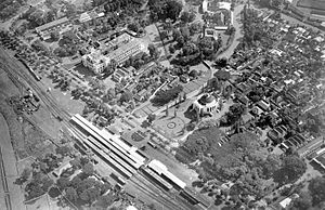 Gambir railway station - Aerial view of Gambir Station in 1940