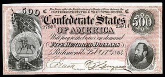 Great Seal of the Confederate States of America - Image: CSA T64 $500 1864