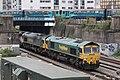 Caerdydd - Freightliner 66553 66517 Arriva 143604 143602.JPG