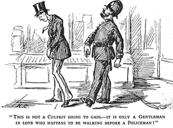 "Drawing of a young man in a top hat hunched with his hands in front of him, followed by a strutting police man. The caption reads, ""This is not a culprit going to gaol -- it is only a young man in love who happens to be walking before a police man."""