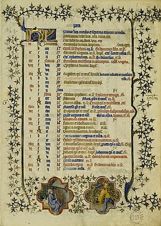 Golden number (time) - Month of January from Calendarium Parisiense (fourth quarter of the 14th c.). The golden numbers, in the leftmost column, indicate the date of the new moon for each year in the 19-year cycle