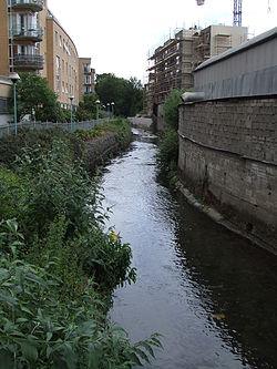 Camac River looking south at Inchicore by The Tramyard development.