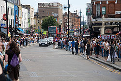 Shoppers in Camden on a busy weekend