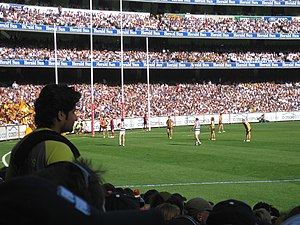 2008 AFL Grand Final - Cameron Mooney's close-range set shot at half time missed for a behind