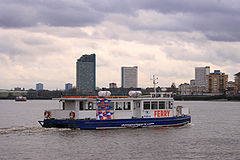 The ferry crossing the Thames to Rotherhithe