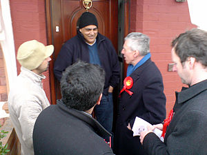 Canvassing - Senior British Labour Party politician Jack Straw canvassing with local councillors in Blackburn