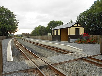 Capel Bangor railway station - A panoramic view of Capel Bangor railway station showing the developments of 2012-2013 funded by the European Union.