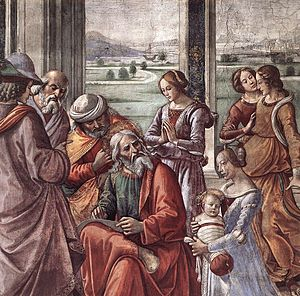 Benedictus (Song of Zechariah) - Detail of Zechariah writing down the name of his son (Domenico Ghirlandaio, 15th century, Tornabuoni Chapel, Italy).