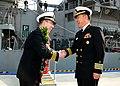 Capt. Jim T. Jones is greeted in Busan. (8433138356).jpg