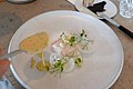 Carré of baked witch flounder, garlic shoots and sauce with unripe elderberries, goosefoot (26633260743).jpg