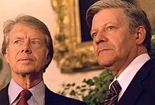 Helmut Schmidt e Jimmy Carter durante una visita del cancelliere alla Casa Bianca il 13 luglio 1977