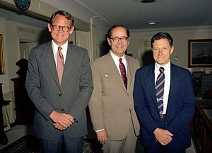 Dick Thornburgh - Governor Thornburgh (center) with Secretary of Defense Caspar Weinberger (right) and Delaware Lt. Governor Mike Castle, July 1982.