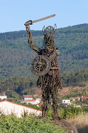 Viking expansion - Modern sculpture of a Viking in Catoira