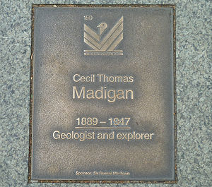 Cecil Madigan - Memorial plaque to Cecil Madigan on North Terrace, Adelaide