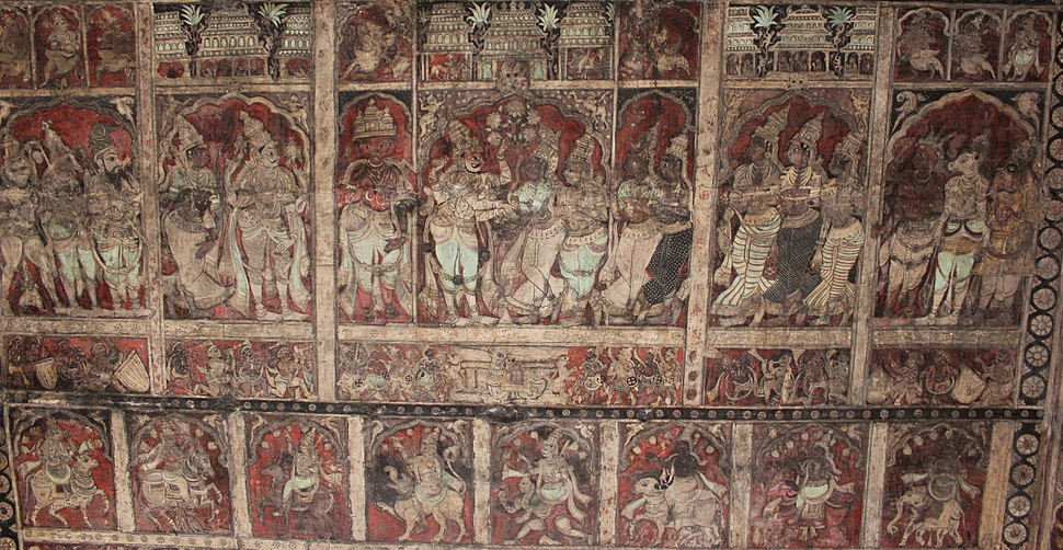 Ceiling paintings depicting scenes from Hindu mythology at the Virupaksha temple in Hampi 3