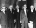 Celebration of UNESCO's 25th anniversary. Left to right, five Directors-General.png