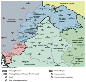 Ottoman Hungary - The political situation around 1572: The Habsburg Kingdom of Hungary (Royal Hungary), Principality of Transylvania, and Ottoman eyalets