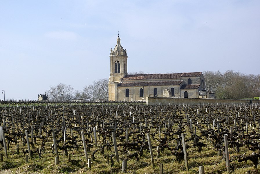 Church of Saint Michael and vineyard of Château Margaux in Margaux (Gironde, France).
